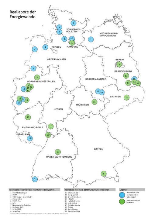 Geografischer Überblick zu den Reallaboren; Bildnachweis: BMWi